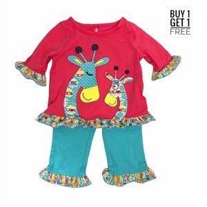 Nursery Rhyme Ruffle Leggings Giraffe Top 9/12 M